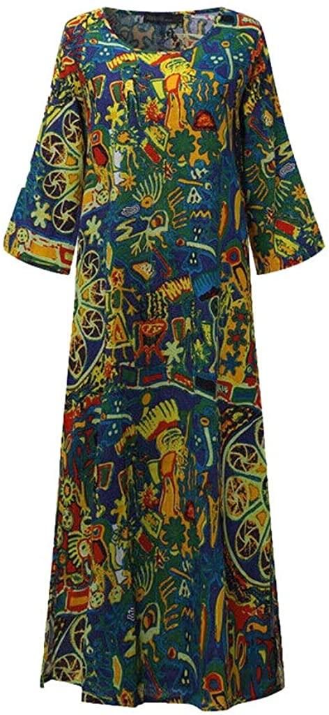 Annhoo Caftan Dresses for Women Loose V Neck Long Summer Flowy Long Maxi Dress Plus Size