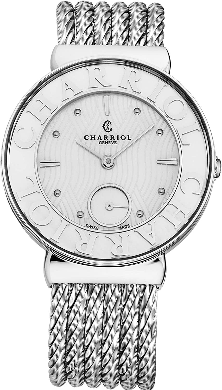 Charriol Women's ST30SC560017 'St Tropez' Mother of Pearl Dial Stainless Steel Swiss Quartz Watch