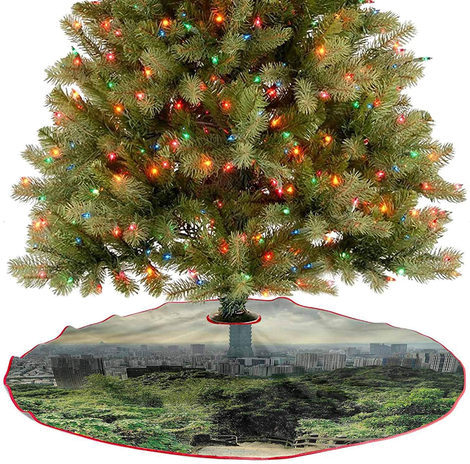 ThinkingPower Tree Skirt Dramatic Cityscape Taipei Christmas Holiday Party Decoration Perfect for Your Holiday Decor Diameter - 30 Inch