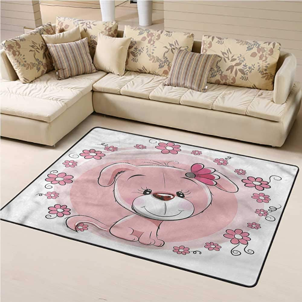 Indoor Rug Dog for Bedroom Living Room Cute Puppy Daisy Flowers 6' x 9' Rectangle