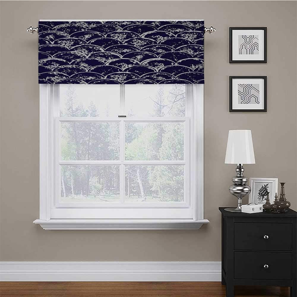 carmaxs Valances Window Treatments Navy Blue Pattern Window Curtain Valance Cool Modern Trend Round Erased Circles in a Sculpt Like Design Image 54