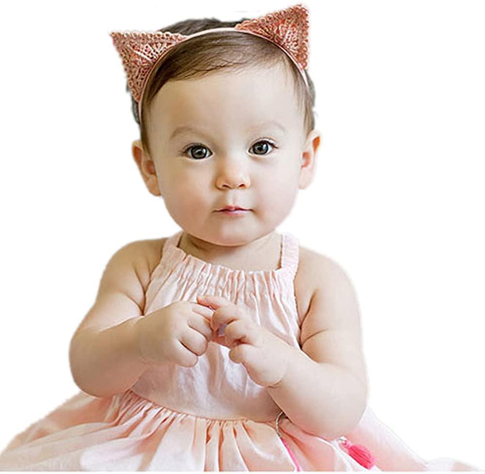 Cute Cat Ear Headband Baby Kids,Cloth Bunny Hairband Elastic,toddler girls 3 pack