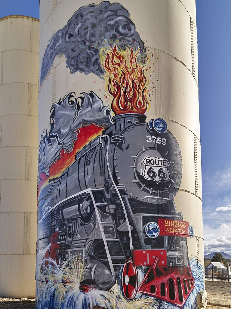 24 x 36 Giclee Print ofMural on a Smokestack recalling The Days of steam-Driven locomotives in Kingman a Small City at The Junction of The Old Historic U.S 66 Highway and The Moder b50 2018 Highsmith