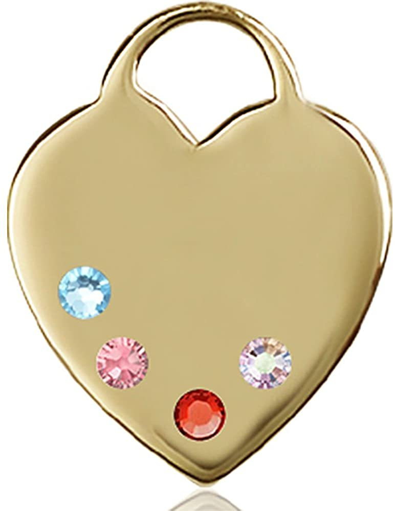 Bonyak Jewelry 14kt Yellow Gold Heart Medal with 3mm Multi-Color Swarovski Crystals. 1 x 3/4 inches