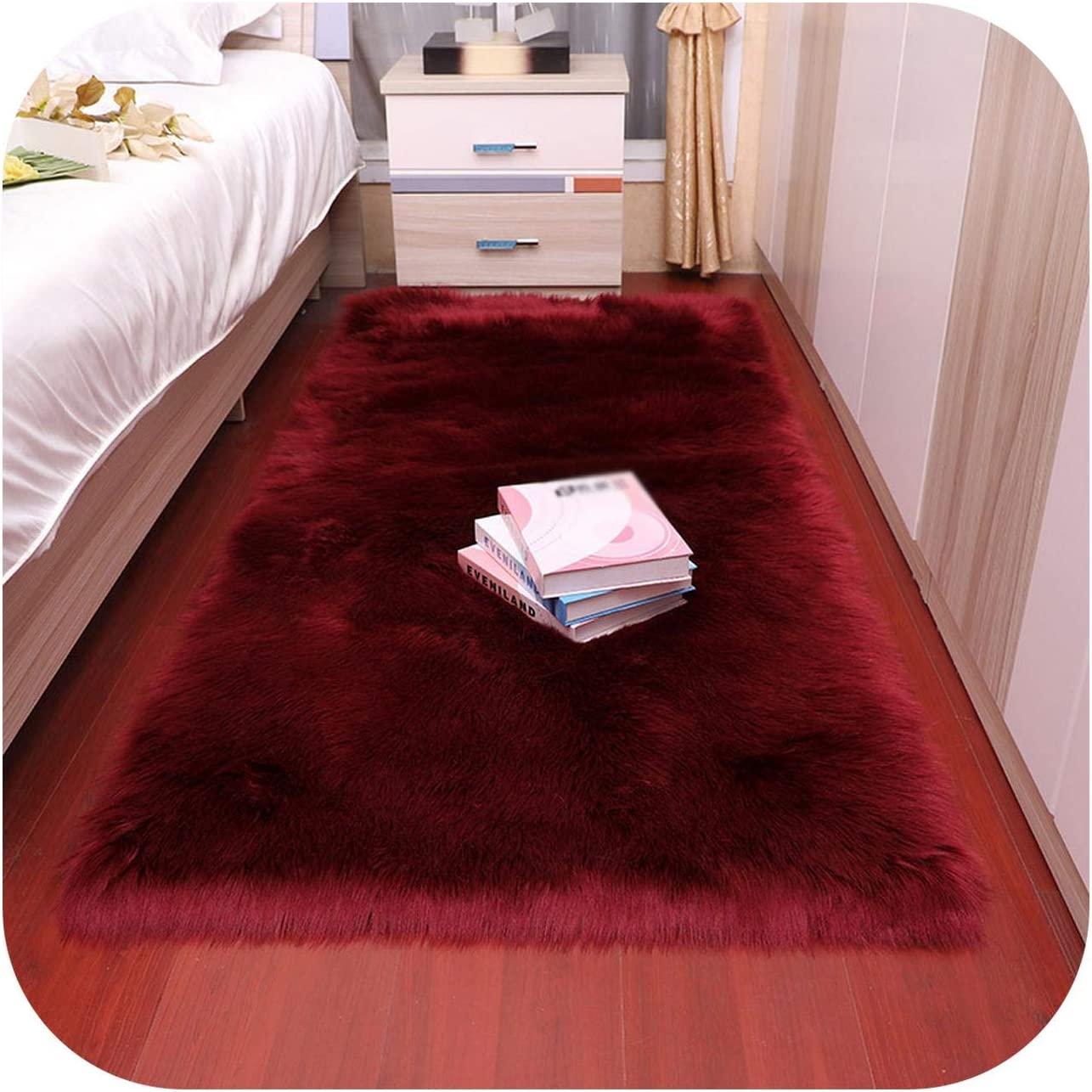 Furry Mats Room, Faux Fur Fluffy Carpet Rug Living Room Floor Area for Bedroom Sheepskin 6cm Pile Home Deco-deep Red-120x180cm