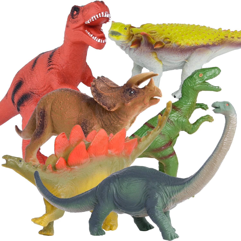 TEPSMIGO Huge Dinosaur Toys, 6PCS Jumbo Dinosaur Set - Realistic Looking Big Dinosaur Figures,Including Jurassic T-Rex Velociraptor Triceratops Stegosaurus Brachiosaurus Ankylosaurus for Boys Girls