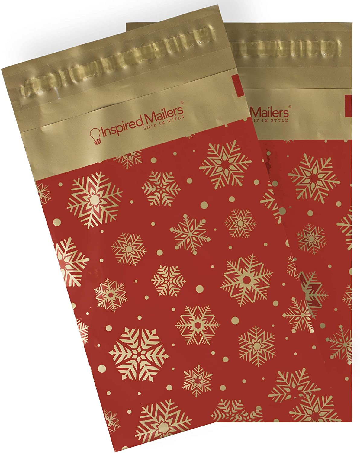Inspired Mailers - Poly Mailers 6x9-100 Pack - Gold Snowflakes Deluxe (Red) - Holiday Shipping Envelopes 6x9 - Package Bags - Poly Bags for Shipping - Envelope 6x9