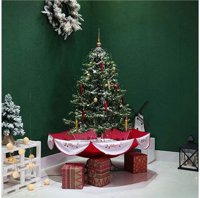 CALCA 6.2ft Snow Artificial Christmas Tree with Decoration Set, Snowing LED Light String Christmas Tree (Red Umbrella Base), in US Stock