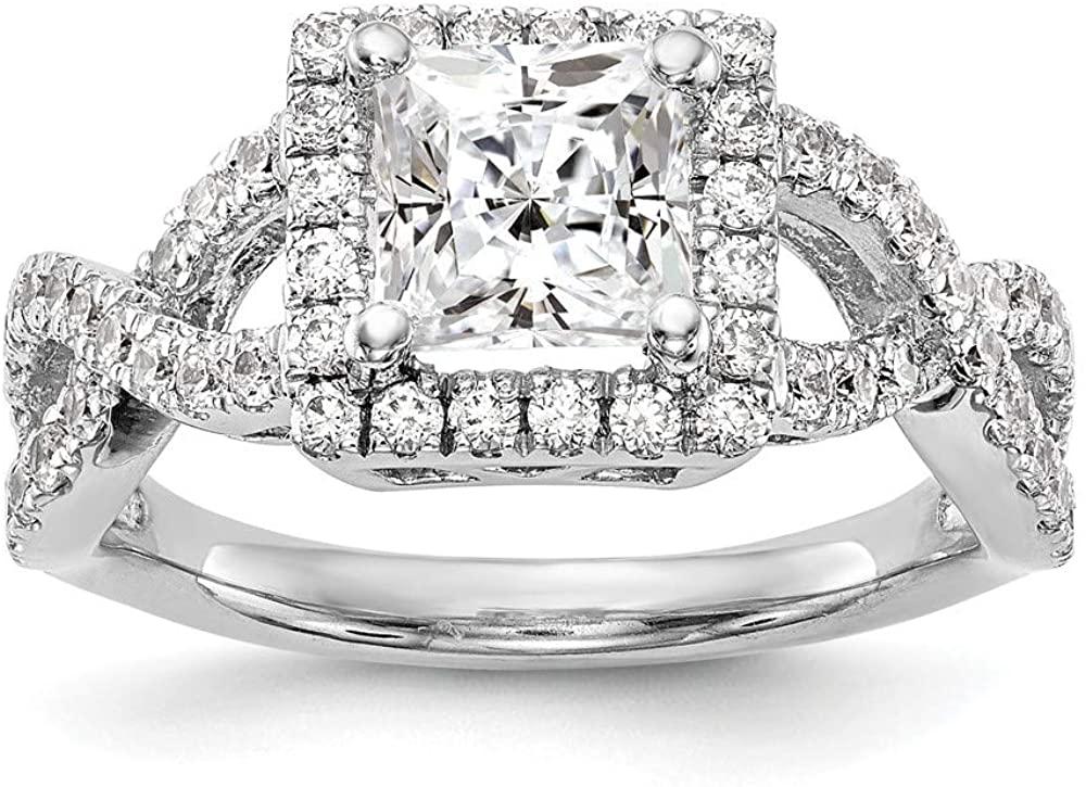 14K White Gold Diamond Princess Semi-Mount Cushion Halo Engagement Ring Size 7 Length Width
