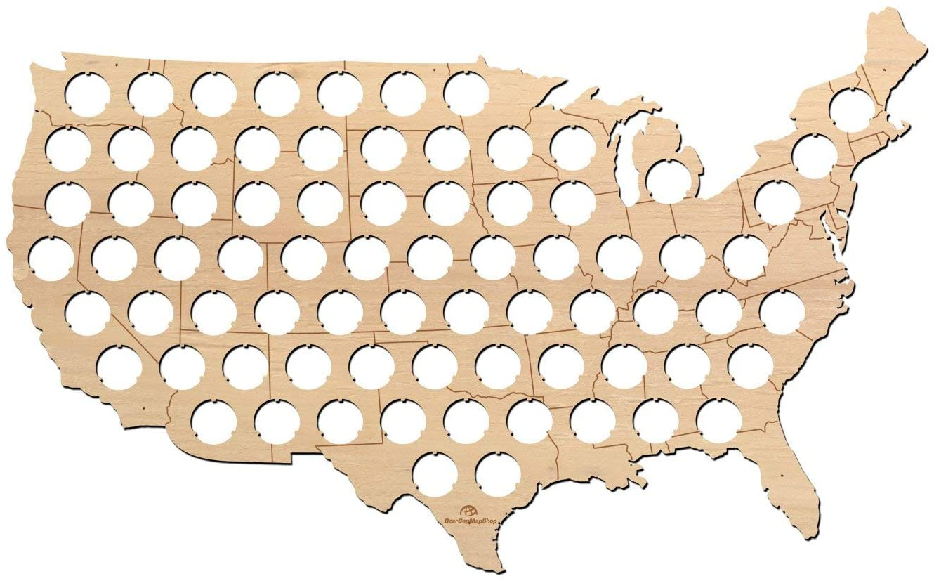 USA Beer Cap Map with States Boarders - 23x14 inches - 75 caps - Beer Cap Holder USA - Birch Plywood
