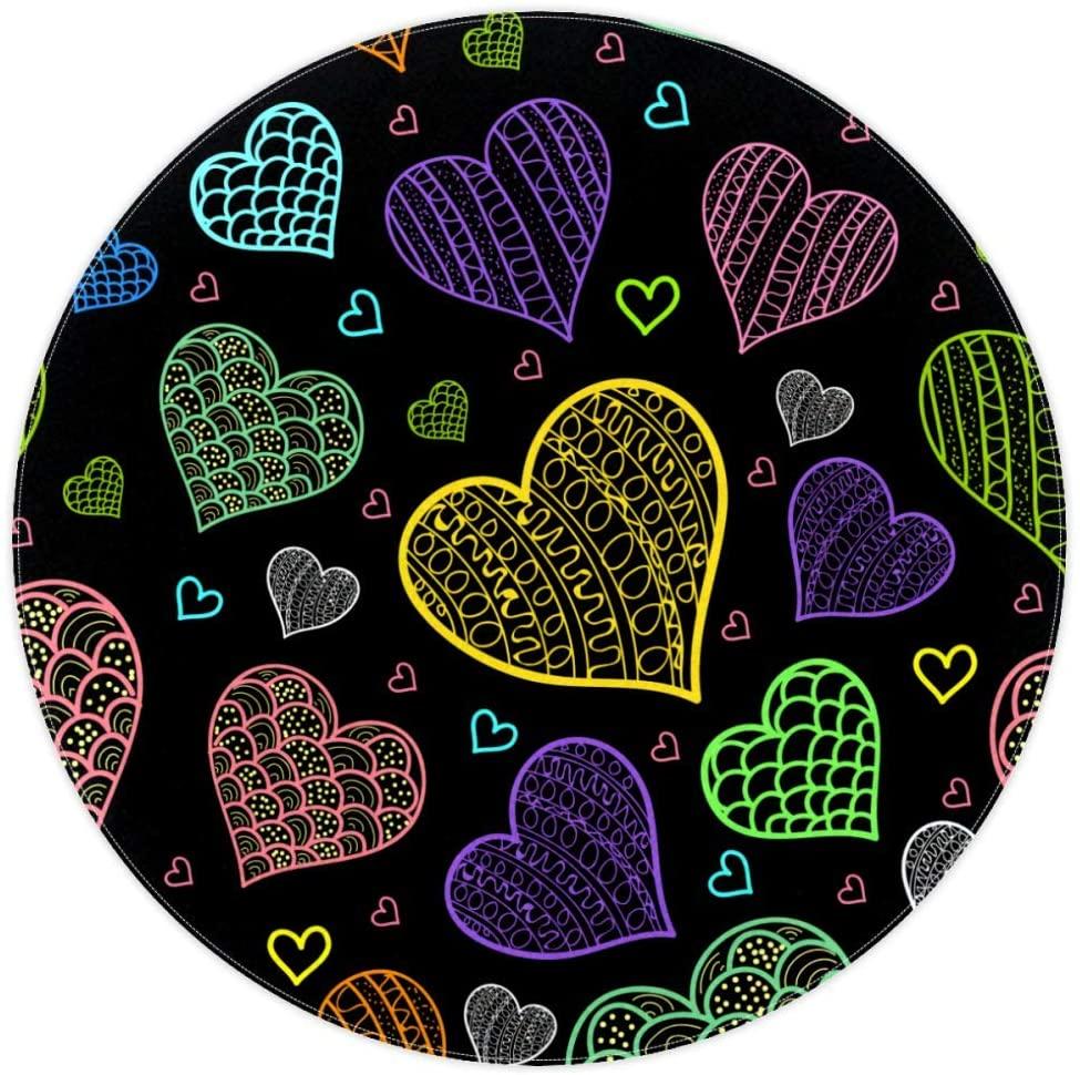 Purple Heart Round Outdoor Mats Area Rugs Non-Slip Baby Play Mat Highchair Splat Soft Carpets Girl/Boy Best Gift for Kid Mat Home Decorator 4feet