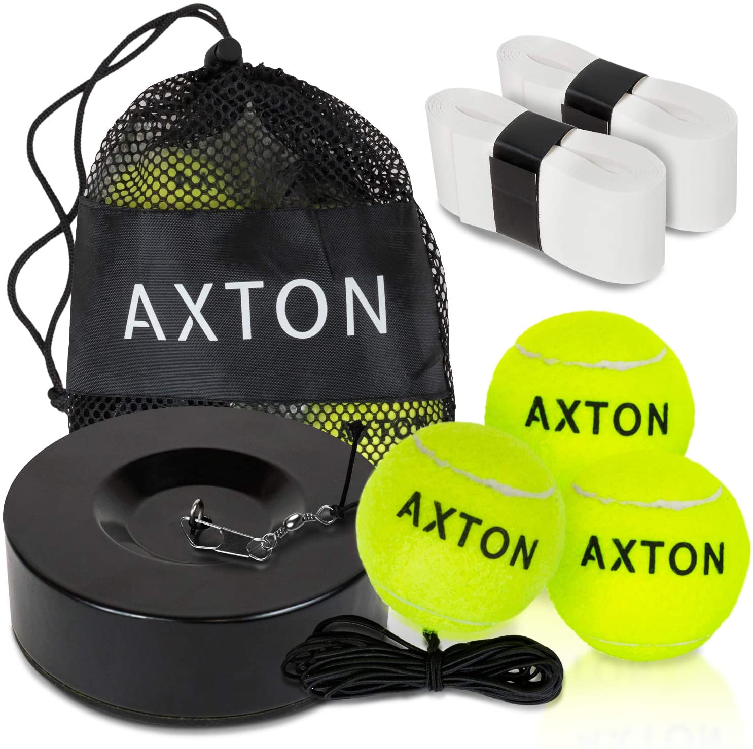 AXTON Solo Tennis Trainer Rebound Ball - Tennis Rebounder with 3 Tennis Balls - Tennis Trainer Ball with String - Tennis Ball Rebounder - Tennis Practice Equipment and Comes with Bonus Overgrips