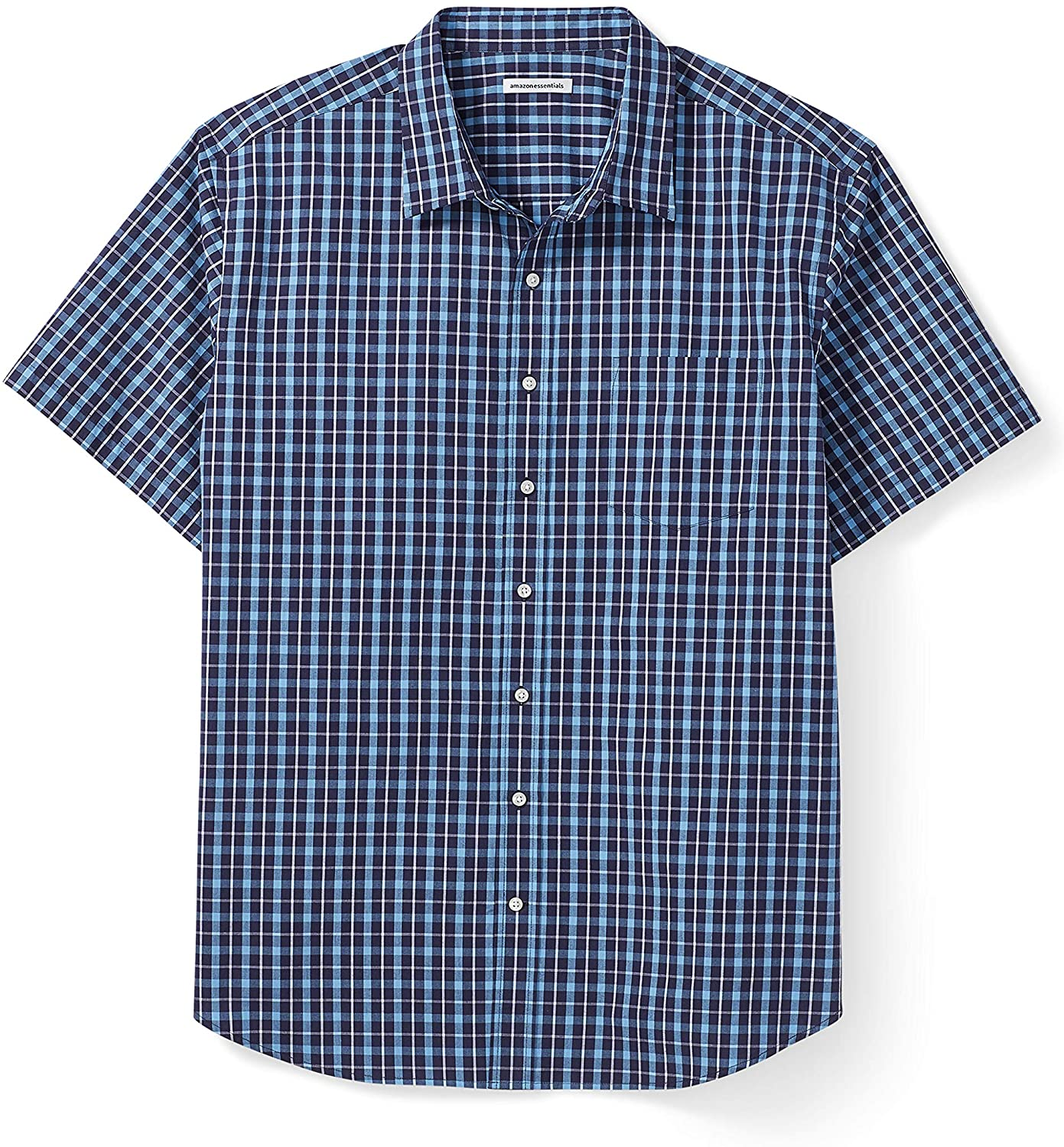 DHgate Essentials Men's Big & Tall Short-Sleeve Plaid Casual Poplin Shirt Fit by DXL
