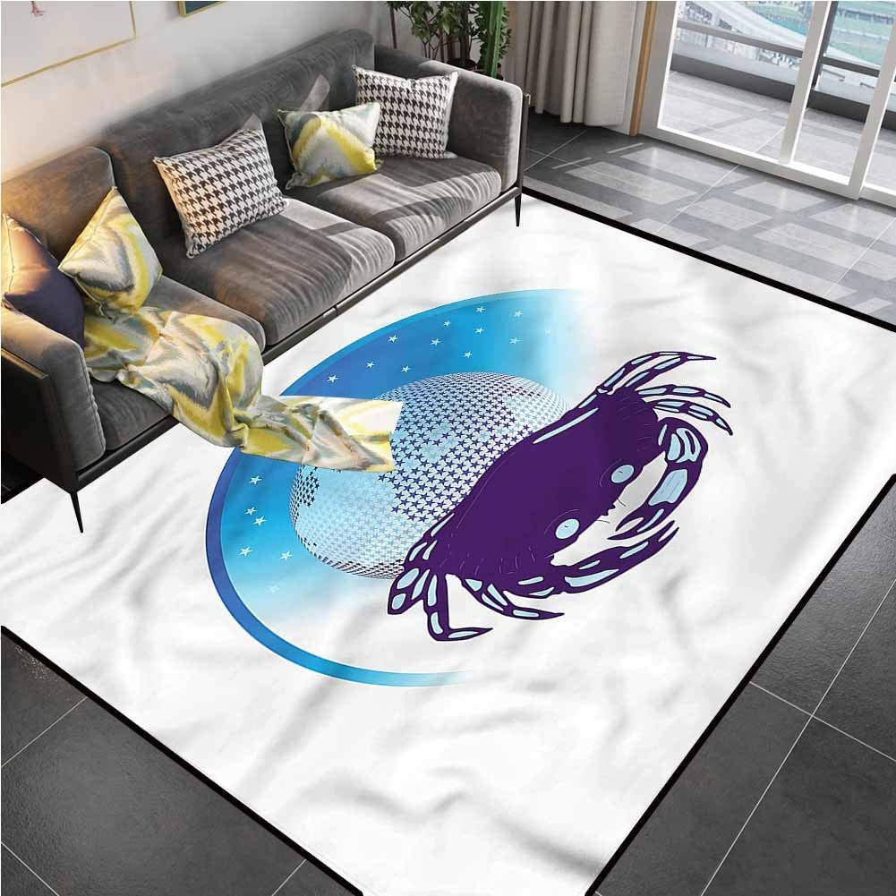 Area Rug Print Large Rug Mat Zodiac Cancer,Crab Horoscope Star Indoor Outdoor Carpet for Living Dining Dorm Playing Room Bedroom 5'x8'