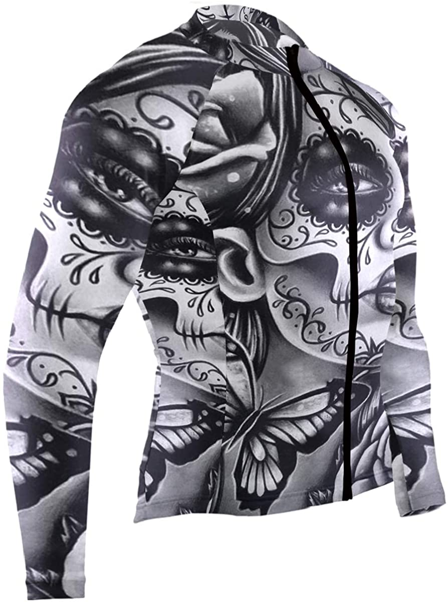 SLHFPX High Flower Sugar Skull Mens Cycling Jersey Coat Long Sleeve Road Biking Clothes Outfit