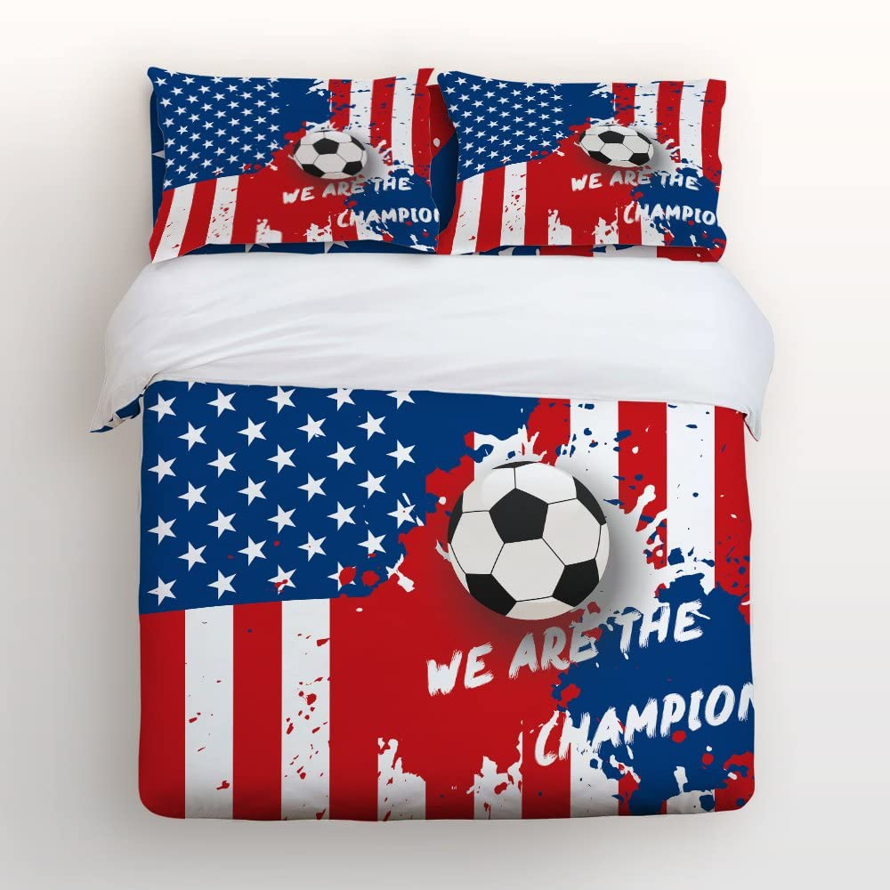 4 Piece Home Comforter Bedding Set with Zipper World Cup Soccer Championship USA Team We are Champions Bed Covers Full Duvet Cover Bed Sheet Pillow Cases for Men Women Children Kids Adults Family