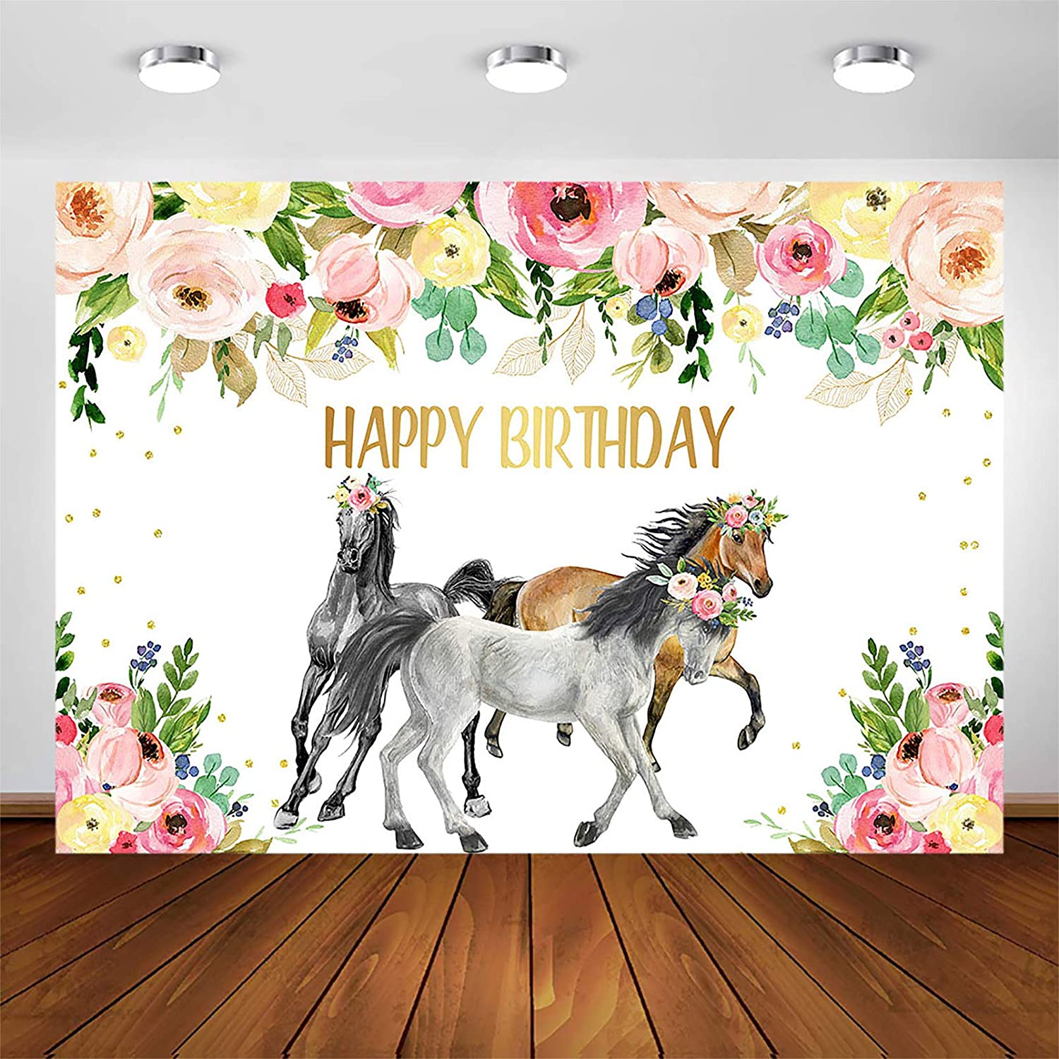 Avezano Horse Birthday Party Backdrop for Girls 7x5ft Cowgirl Western Horse Party Photography Background Decorations Banner Photo Booth Photoshoot