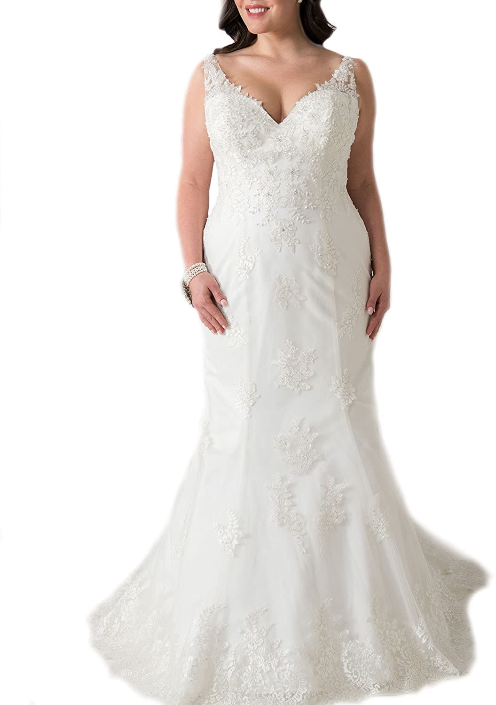WeddingDazzle V-Neck Straps Appliques with Beading Plus Size Wedding Dress Mermaid Bridal Gowns