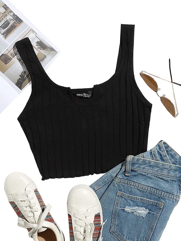 Romwe Women's Sleeveless Vest Crop Tank Top Ribbed Knit Lettuce Trim Shirt