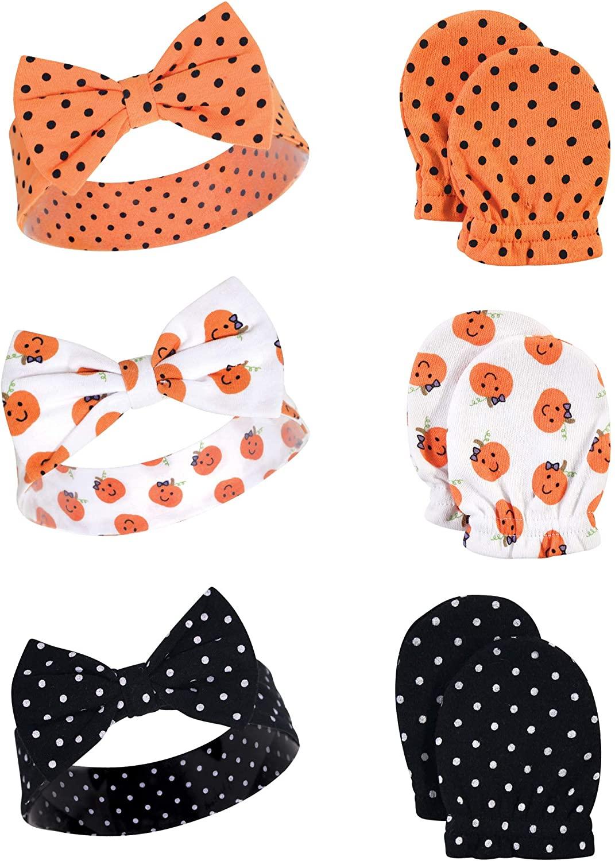 Hudson Baby Unisex Cotton Headband and Scratch Mitten Set, Halloween Dots, 0-6 Months