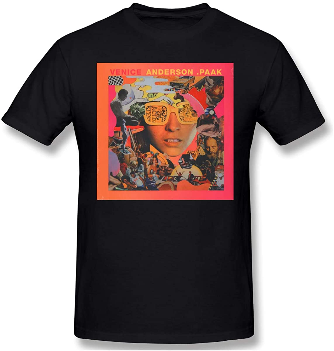 NaohBent Anderson PaakVenice Mens Basic Cotton Short Sleeve T-Shirt Fashion Shirts Black