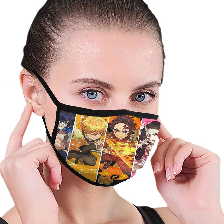 Kimetsu no Yaiba Unisex Mouth Cover Washable Balaclava Reusable Anti-Dust Face Mask Black