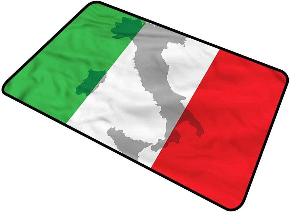 DESPKON-HOME Italian Flag, Bath Mat Country Europe Retro Absorbs Mud Doormat for Entry, Garage, Patio, High Traffic Areas 20x30 Inch