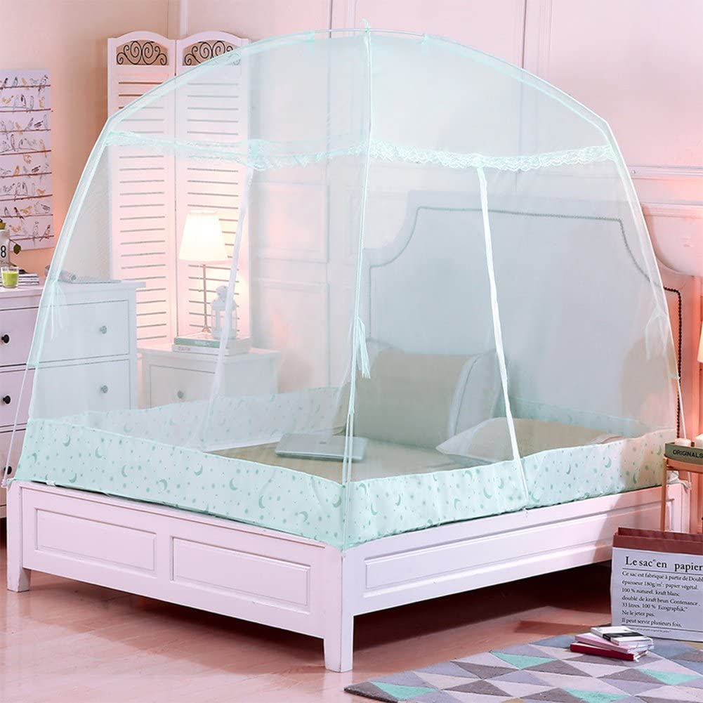 SIOFSVDFDFASDD Round fly screen,Heighten yurt net,Double mosquito net student single dormitory bracket zipper nets keeps away insects & flies-D Twinch1