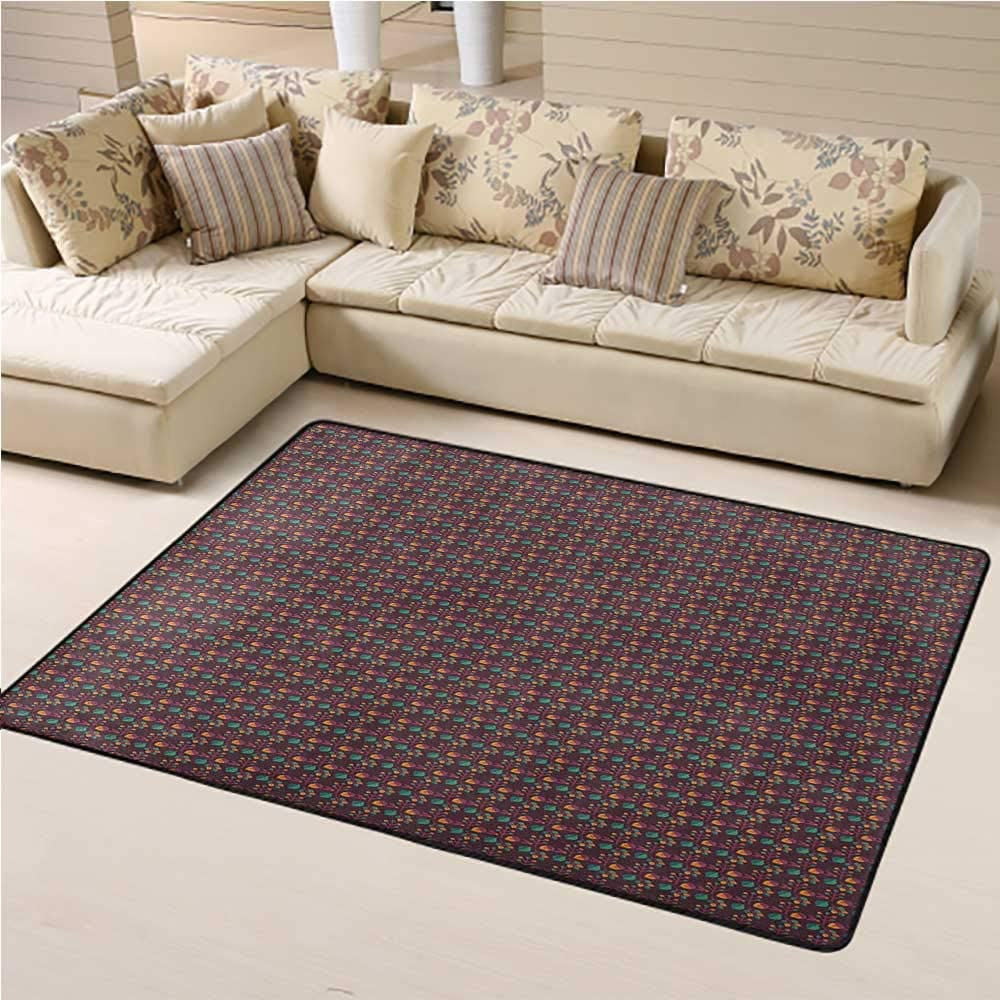 Outdoor Rug Abstract Throw Rugs with Rubber Backing Washable Seasonal Pattern with Leaves and Nuts Autumn Nature Themed Classical 6 x 9 Ft Plum Jade Green Orange