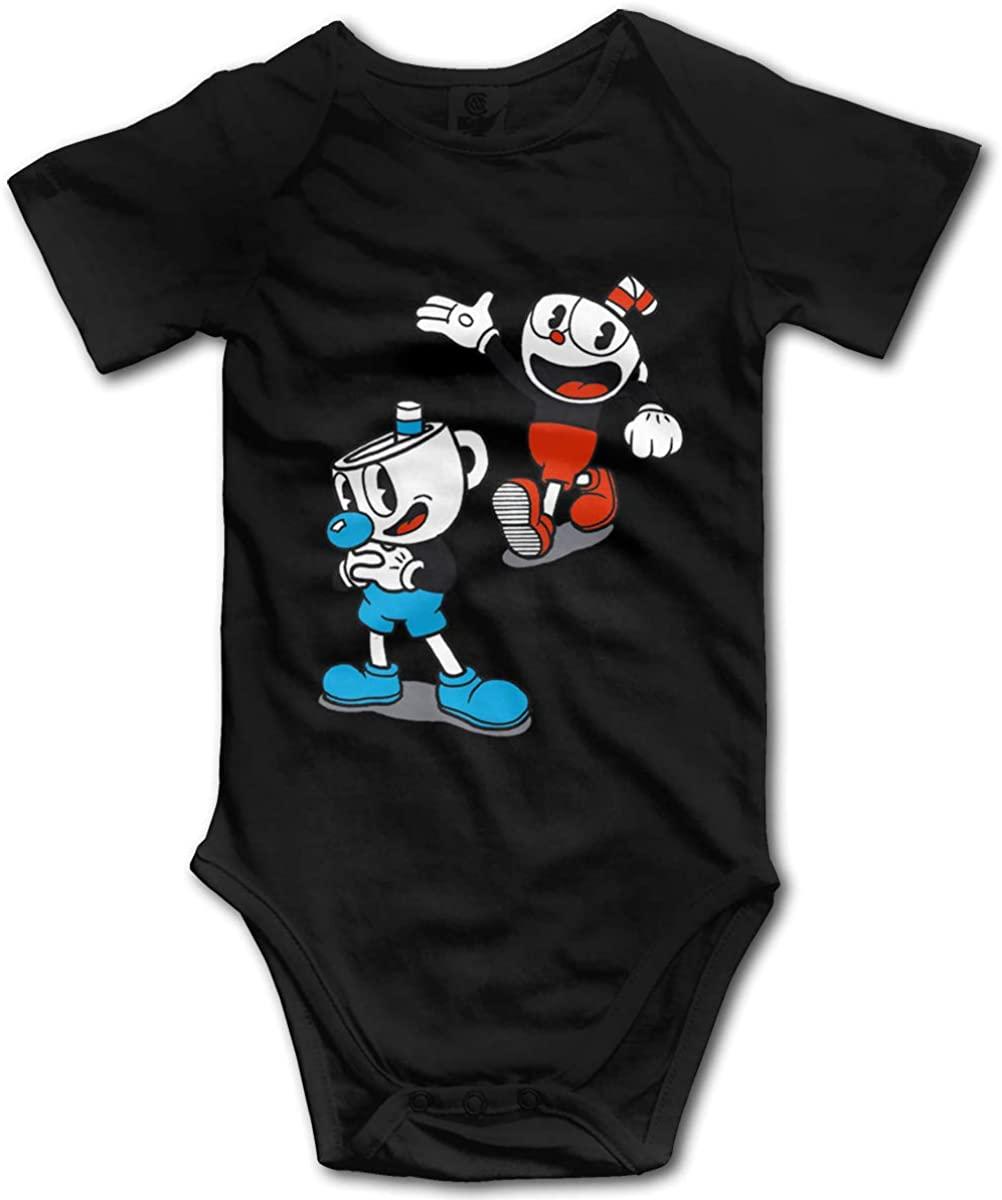 Cuphead On Steam Unisex Baby Short-Sleeved Bodysuit, Cotton Baby Bodysuit Jumpsuit, Newborn Jumpsuitblack