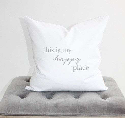 Flowershave357 This is My Happy Place Pillow Cover 18x18 Pillow Home Decor Apartment Decor Home Pillow Sofa Pillow Modern Decor Inspirational Pillow