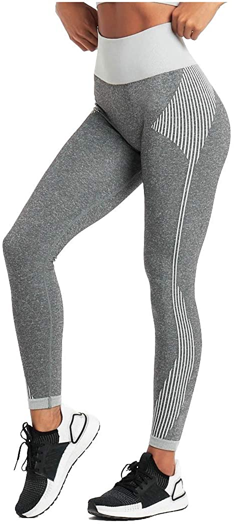 Telamon Women's High Waist Workout Seamless Leggings,Tummy Control Gym Running Yoga Pants