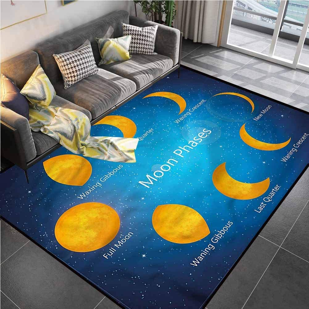 Area Rug Print Large Rug Mat Moon Phases,First Quarter New Moon Chair mat Carpet for Living Dining Dorm Playing Room Bedroom 4'7