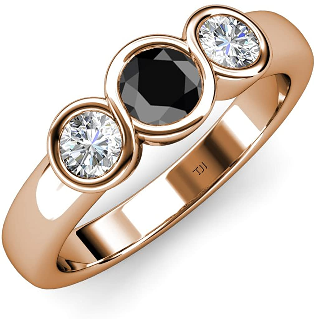 TriJewels Black and White Diamond (SI2-I1, G-H) Infinity Three Stone Ring 1.00 ct tw in 14K Rose Gold