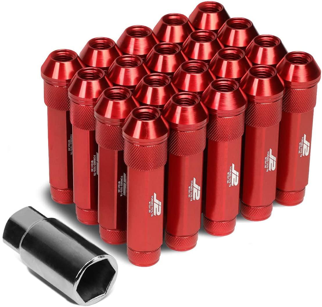 J2 Engineering LN-T7-027-15-RD 7075 Aluminum M12 x 1.5 25mm OD / 90mm 20x Lug Nut + 1x Key