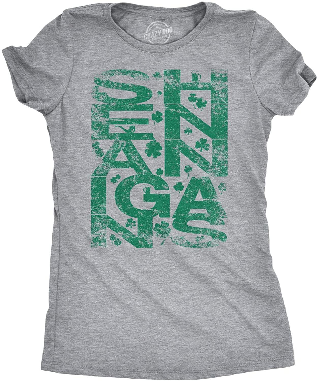 Womens Shenanigans Clover Funny Irish Saint Patricks Day Shamrock Pattys T Shirt