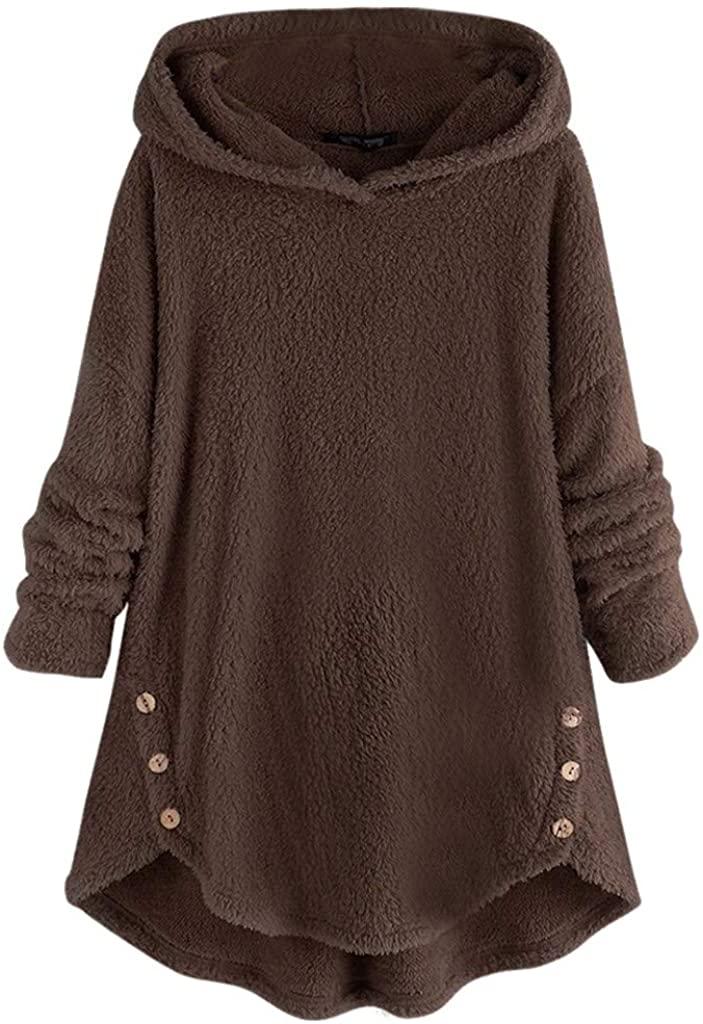 iTLOTL Women Fall Winter Solid Fleece Asymmetrical Hoodie Top Button Hem Plus Size Sweater Blouse