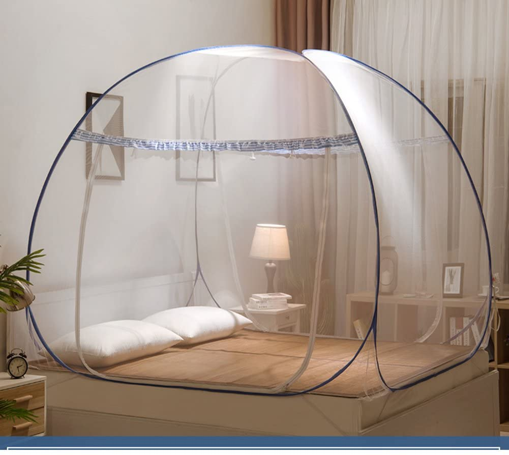 SIOFSVDFDFASDD Square netting curtains,Yurt nets 1.5m bed 1.8m netting curtains Home single 1.2m student dormitory mosquito nets-F Queen1