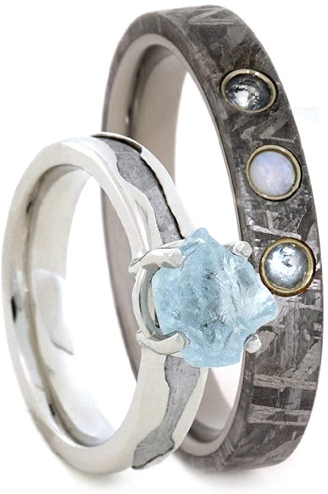 Aquamarine, Gibeon Meteorite 10k White Gold Ring and Opal, Aquamarine, Gibeon Meteorite Titanium Band, Couples Rings