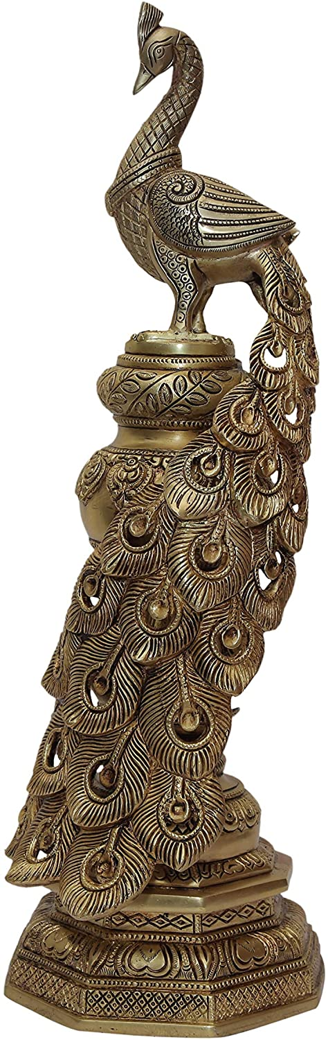 BHARAT HAAT Brass Peacock National Bird Sitting on Beautiful Base Peafowl Statue Showpiece Sculpture for Home Decor Gift Carving Work Handicraft Art (19.5 inches, Yellow) BH07185