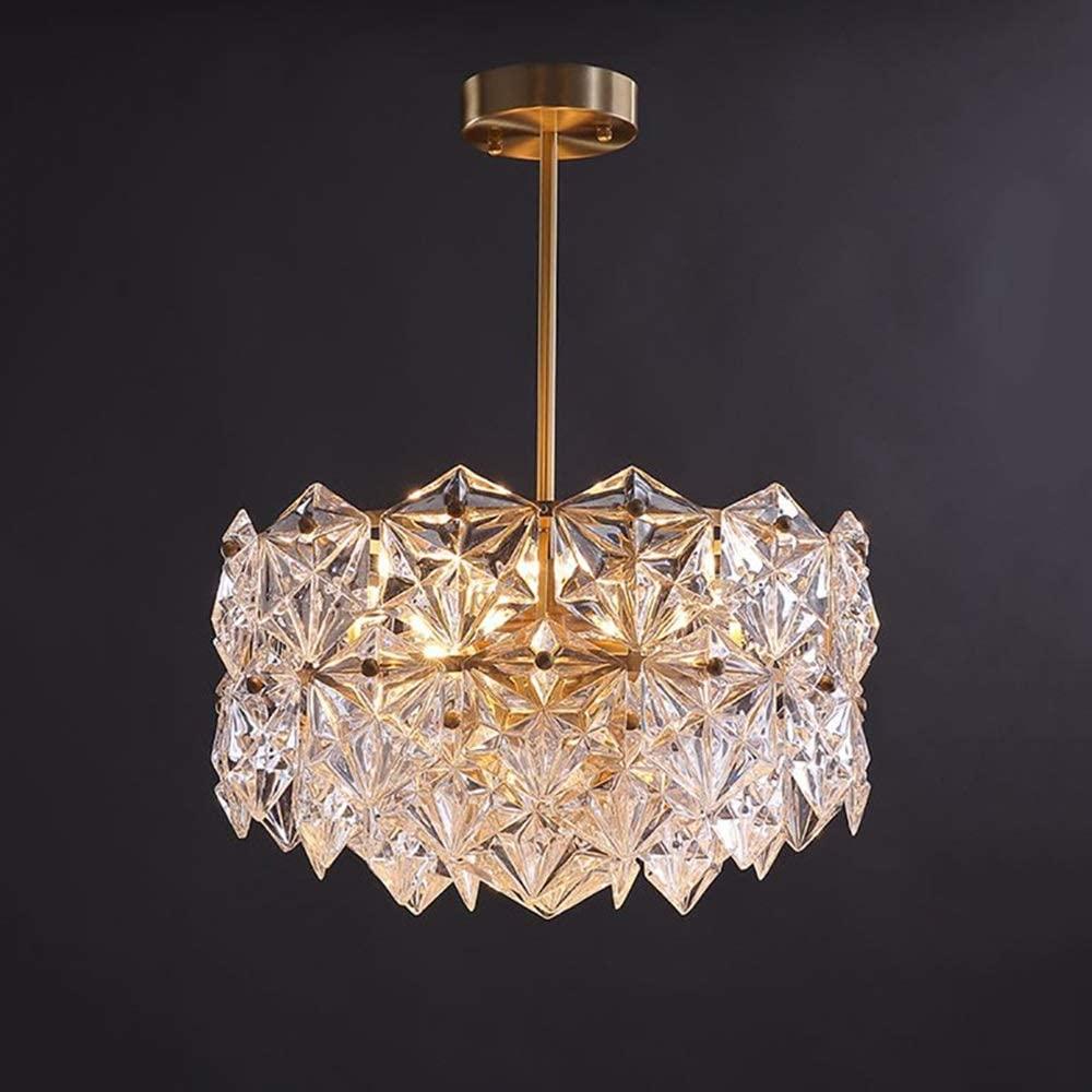 YiCan Luxury Crystal Chandelier Villa Hotel Dining Room Bedroom Decorative Chandelier Warm Copper / 43 X 43 X 56cm Good Material