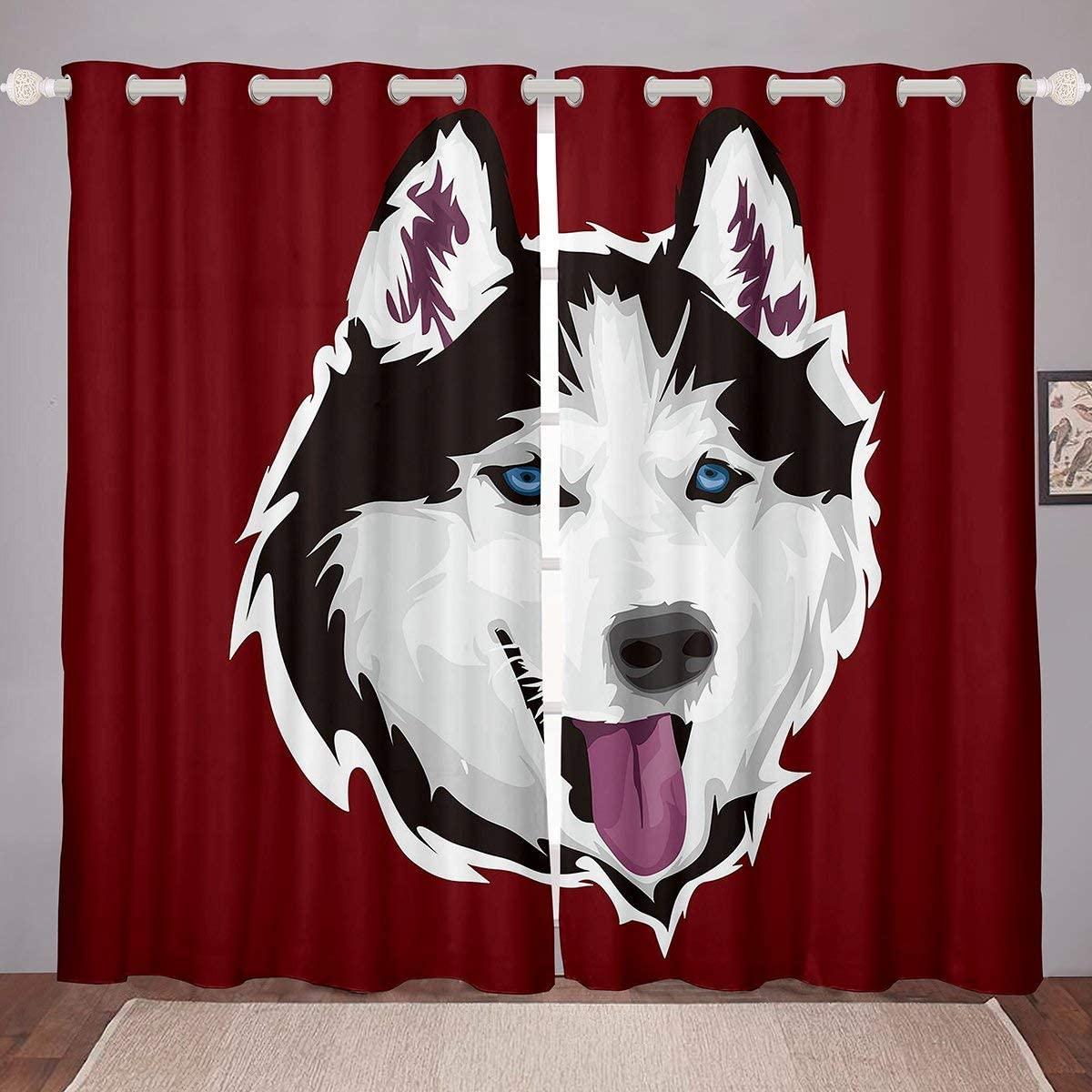 Erosebridal Husky Window Treatments for Kids Teens Adults, Puppy Pet Animal Window Drapes, Glitch Effect Window Curtains, Boys Girls Room Decor Dog Silhouette Curtain Panels 104W96L Black White Red