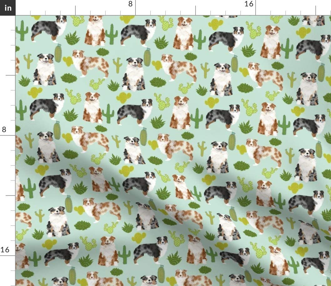 Spoonflower Fabric - Australian Shepherds Dog Cute Cactus Mint Dogs Blue Red Aussie Printed on Cotton Poplin Fabric by The Yard - Sewing Shirting Quilting Dresses Apparel Crafts