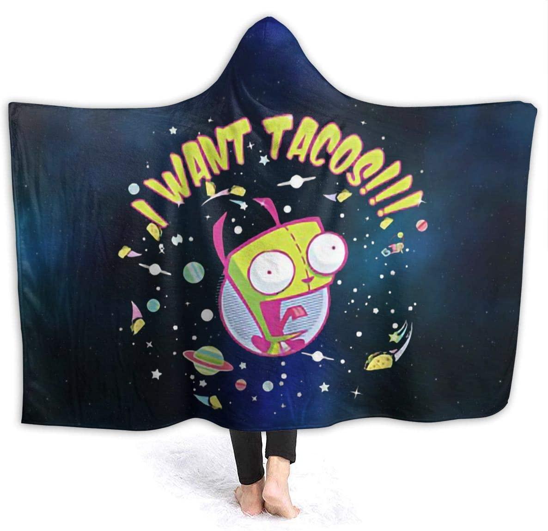 Xzmafthfrw Invader Zim Unisex Hoodie Blanket Sweatshirt,Super Soft Warm Comfortable Sherpa Pullover 80