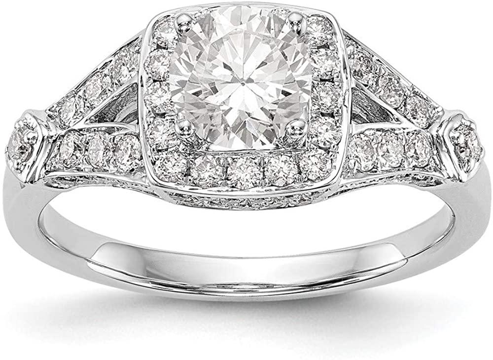 14K White Gold Diamond Princess Semi-Mount Halo Engagement Ring Size 7 Length Width