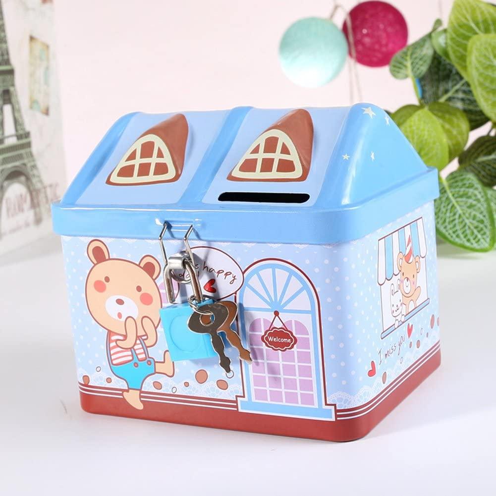 AKDSteel Piggy Bank, Cartoon Iron House Cute Piggy Bank Money Saving Box Tinplate Creative Coin Pot Ideal Gifts for Kids Develop Intelligence11.9 9.4 10.4cm Blue
