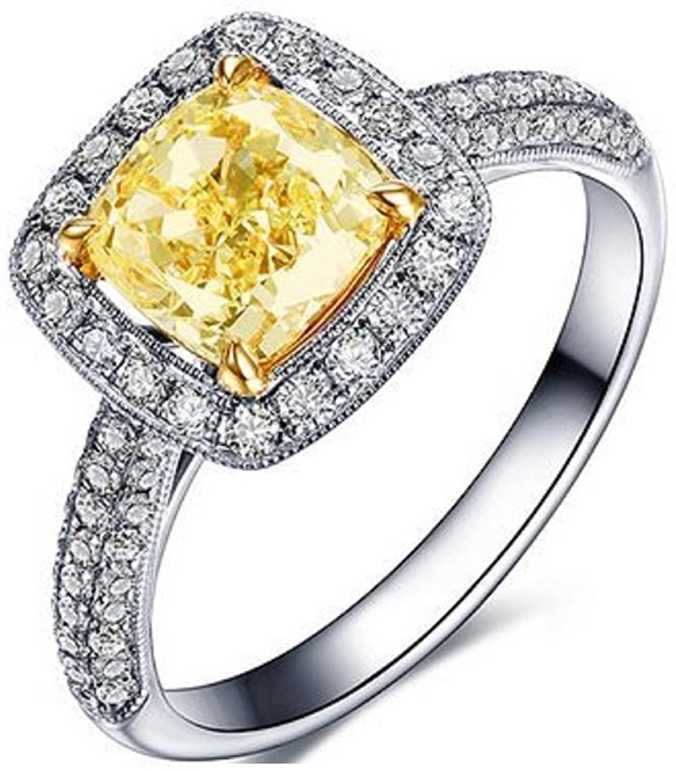 GOWE Luxurious Series 18K White Gold Fancy Yellow Diamond Cushion Cut 0.70 ct Certified Diamond Engagement Ring