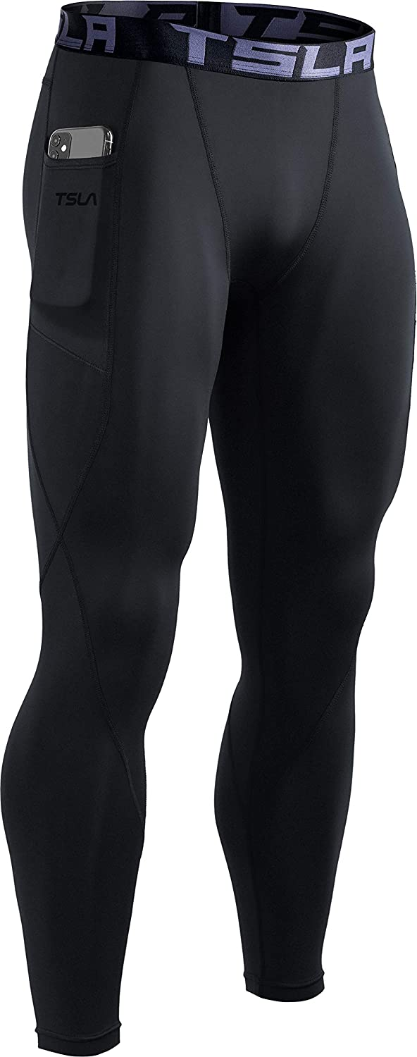 TSLA Men's Thermal Compression Pants, Athletic Sports Leggings & Running Tights, Wintergear Base Layer Bottoms