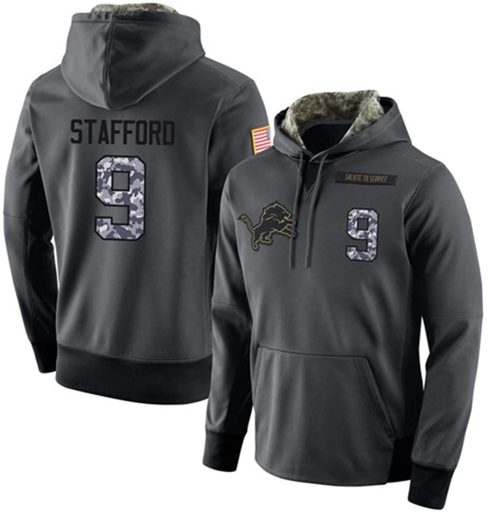 Men's #9 Matthew Stafford Detroit Lions Salute to Service Hoodie Apparel - Anthracite