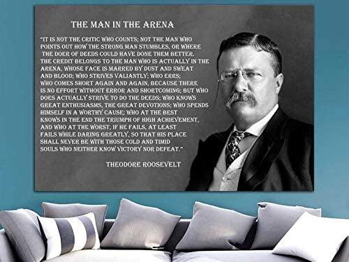Inspirational Roosevelt Canvas Roosevelt Quotes Decor Motivation Art Celebrity Print Man in The Arena Art Motivation Canvas Celebrity Deco Quotes Wall Art 32x48 Canvas